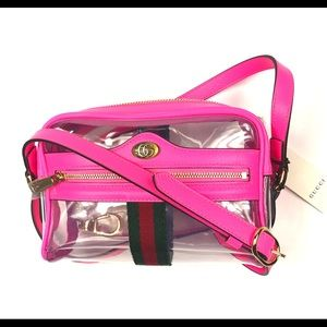 Gucci #517350 Ophidia Pink Leather/Vinyl Crossbody